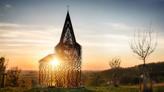 Architectural optical illusion makes church disappear